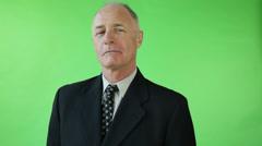 Senior caucasian business man green screen Stock Footage