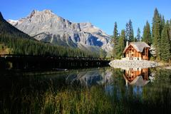 wooden house at emerald lake, yoho national park, canada - stock photo