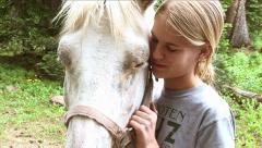 GIRL'S BEST HORSE FRIEND Stock Footage