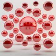 Abstract red geometric shapes from rounds Stock Illustration