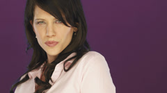 An attractive brunette seduces the camera. Stock Footage