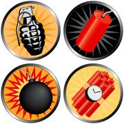 Icons that go boom! - stock illustration