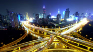 Stock Video Footage of 4k-Time lapse busy urban traffic with streaking lights trail at night,shanghai.
