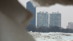 Frozen beach and city Stock Footage