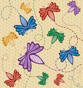 Colorful flying bugs - stock illustration