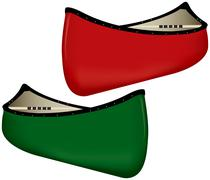 Two canoes - stock illustration