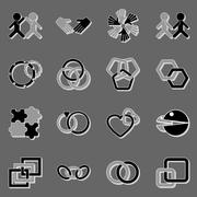Link and relationship icons with shadow Stock Illustration