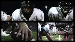 Montage grid of related scenes of football players Stock Footage