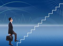 Businessman climbs stairways Stock Illustration