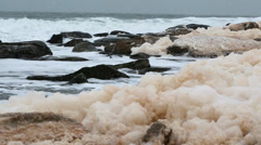 Sea foam on an amazing winter shore Stock Footage