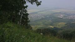 Panorama balneological resort belokurikha from mount tserkovka. altai krai. r Stock Footage