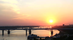 Sunset on the river ob in novosibirsk. russia. timelapse view. Stock Footage