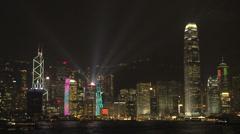 Hong Kong skyline Lightshow - stock footage