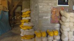 Pan - interior workshop wooden shoe maker Stock Footage