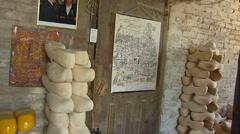 Interior traditional workshop wooden shoe maker - door swings open Stock Footage