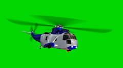 Helicopter Night Hawk in fly  - seperated on green screen Stock Footage