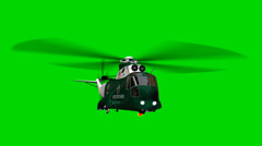 "Helicopter Night Hawk ""Marine One"" in fly  - seperated on green screen Stock Footage"
