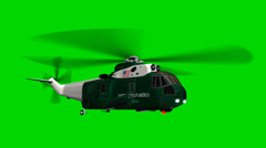 """Helicopter Night Hawk """"Marine One"""" in  fly - seperated on green screen Stock Footage"""