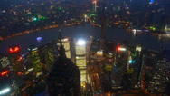 Stock Video Footage of aerial view of high-rise buildings with river in Shanghai at night,China.