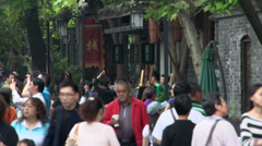 Close up from crowded Jin li street in Chengdu, China - stock footage