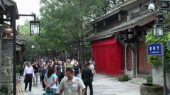 Crowded Jin li street in Chengdu, China - stock footage