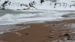 a beautiful winter ocean shoreline - stock footage