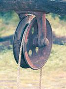 'rahate', a pulley used for drawing water out of a well Stock Photos