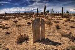 Wooden Grave in a Ghost Town Cemetary - stock photo