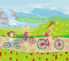 Stock Illustration of mother and daughters biking in the park
