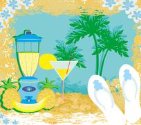 vector summer background with palm trees  and fruity drink - stock illustration