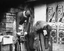 1930 - China - Shanghai 06 - Workers Shaving Tobacco 01 Stock Footage