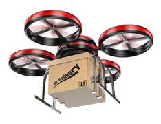 3d drone delivering a package Stock Illustration