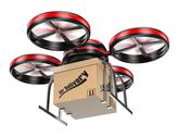 Stock Illustration of 3d drone delivering a package