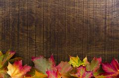 A background decorated with colourful autumn leaves, with copy space Stock Photos