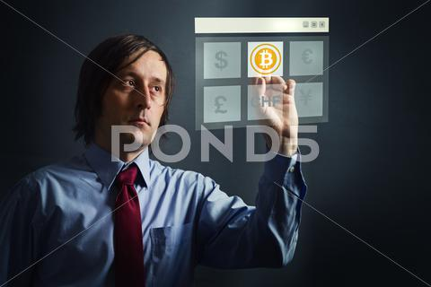 Stock photo of choosing bitcoins as currency