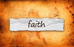 Faith title on piece of paper Stock Illustration