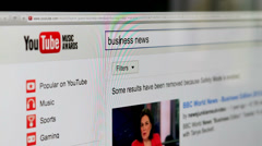 YouTube search for business news - stock footage