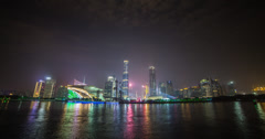 Stunning 4K time lapse of Guangzhou and the pearl river at night - stock footage
