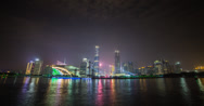 Stock Video Footage of Stunning 4K time lapse of Guangzhou and the pearl river at night