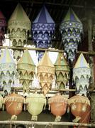 Stock Photo of cloth made lanterns hanged for selling before diwali festival, maharashtra, i