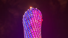Stock Video Footage of Time lapse of the top of the Canton Guangzhou tower in China