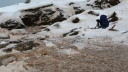 Stock Video Footage of sea foam on a rough winter shore