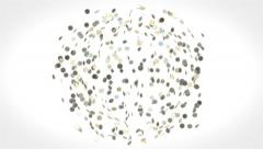 Business Animation of Euro Coins from Globe to Euro Symbol - White Version Stock Footage