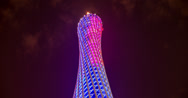 Stock Video Footage of The stunning Canton Tower in Guangzhou at night in 4K