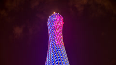 Stock Video Footage of The stunning Canton Tower in Guangzhou at night
