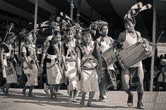 Tutsa sub tribe of tangsa tribe performing traditional dance Stock Photos