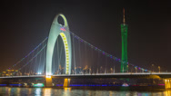 Stock Video Footage of Time lapse of the Liede Bridge and Canton Tower in Guangzhou, China