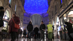 Milan, people walking in the Galleria Vittorio Emanuele. Slow Motion Stock Footage