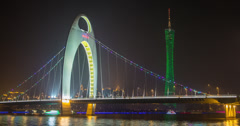 4K time lapse of the Liede Bridge and Canton Tower in Guangzhou, China Stock Footage