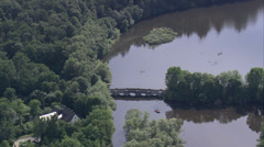 Bridge over reservoir in Germany - stock footage